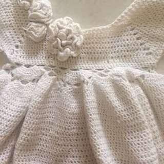 Dress rajut coklat muda bayi 0-3bulan