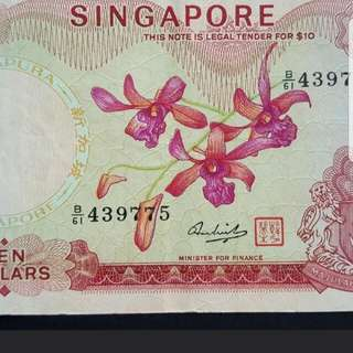 Banknote of Singapore Orchid Series $10