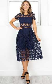 Magic Mystery Navy Crochet Dress