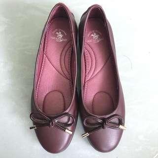 Polo 蝴蝶結棗紅色 婆仔鞋