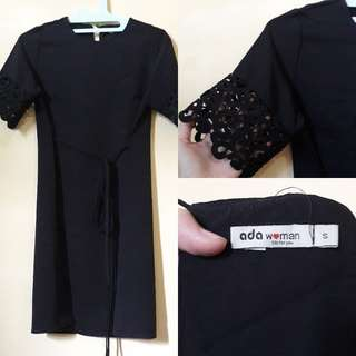 Dress hitam tangan brukat