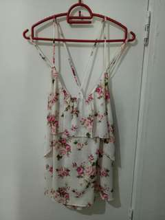 Floral flounce cami top with cross back