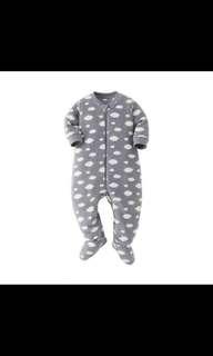 BNIB BABIES NEWBORN Grey Micro Fleece Long Sleeve One Piece Outfit 70