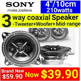 """SONY 4: SPEAKERS - Sony 3 Way 210Watts coaxial SPEAKER with Mid Range + Built-in dome tweeter + Super Tweeter(10cm/4"""" size. ) Usual Price: $ 59.90. Special Price: $39.90 ( Brand New In Box  & Sealed)"""