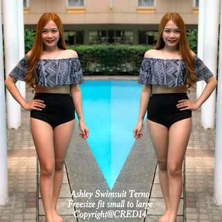 Ashley 2 pc swimsuit terno off shoulder high waist