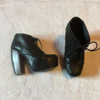 Jeffrey Campbell Black Leather Ankle Booties Size 36