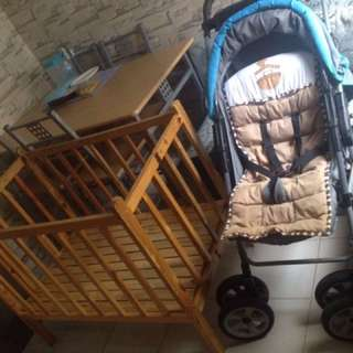 Bundle Big Stroller and Wood crib