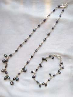 Black rice pearl necklace & bracelet genuine silver setting
