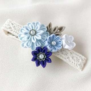 Flower corsage hair clip, blue hair piece, kanzashi hair clips, flower hairpiece, bridesmaid headpiece, floral hair clip, boho hair flower