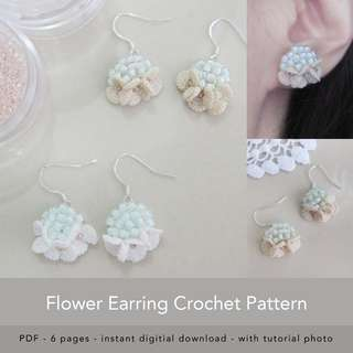 Crochet flower pattern, Crochet applique flowers, Crochet applique pattern, PDF Crochet pattern UK terms, Crochet pattern wedding earrings