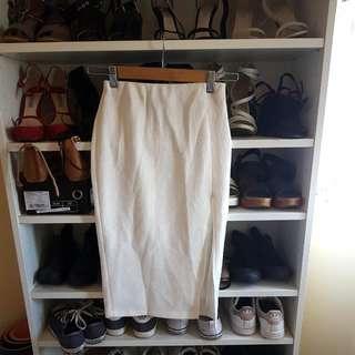 White Split Midi Skirt