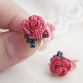 gift for Mom - Mother's Day gift rose bead stud earrings - crochet accessories