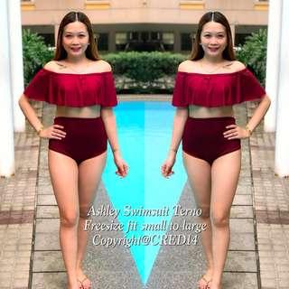 Ashley Plain 2 pc off shoulder high waist swimsuit