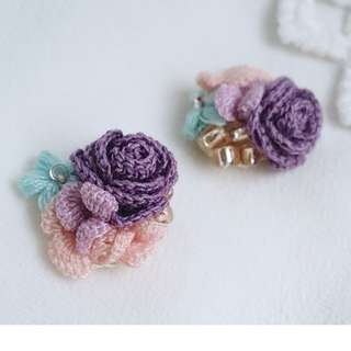purple rose stud earrings with beads - everyday earrings - crochet accessories - bridesmaid gift - gift for her