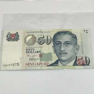 {Collectibles Item - Currency} 5BG757575 Nice no. $50 Singapore Portrait Series Banknotes Signature & Seal By  Mr Tharman Shanmugaratnam