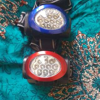 2 never used LED head torches