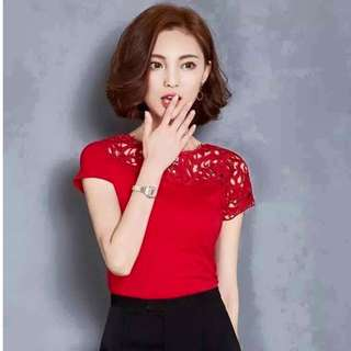 Red Korean blouse