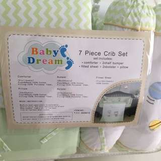 Baby cot 7 piece crib set include bedsheet etc - green Colour