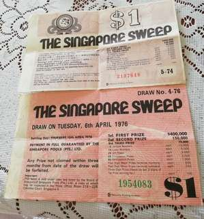 Big Sweep tickets 1974/76