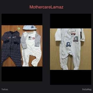 2 Mothercare sleepsuits & 1 MC hat + 1 Lamaze sleepsuit & 1 hat