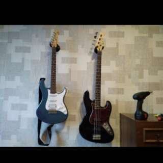 (Ready Stocks) Guitar, Bass, Violin, Ukelele, Banjo Instrument Wall Mount Hanger Holder Rack Hook