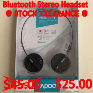 Brand New Rapoo H6020 Bluetooth Wireless Stereo Headset with Microphone (Black)