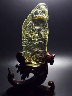 Natural yellow crystal dragon ball.