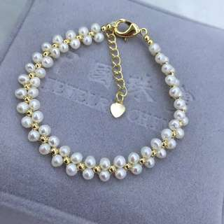 Real Freshwater pearls handcrafted bracelet 14k gold filled