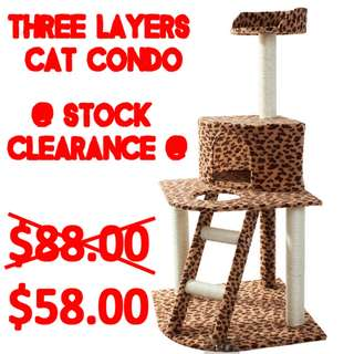 TPE041 Three Layer Condo Cat Jumping Toy with Ladder Scratching Wood Climbing Tree Sales