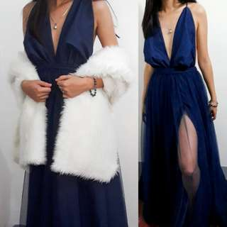 Dark blue Gown for rent with shawl (for rent only)