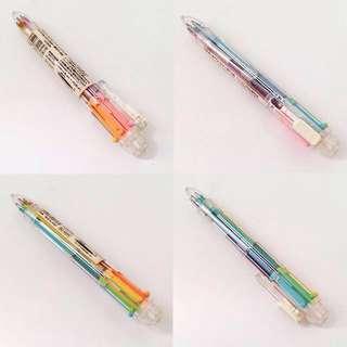 Vintage Muji Made in Japan 6 in 1 Pastel Rainbow Colour Pen 中古無印彩虹六色筆