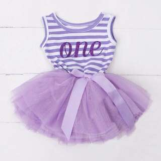 🦁Instock - 1st purple birthday dress, baby infant toddler girl children sweet kid happy abcdefg hello there