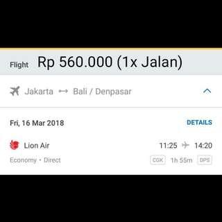 Tiket Pesawat Jakarta - Bali 1x jalan