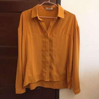 復古 芥末黃 黃色 襯衫 透氣