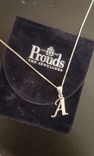 Silver A Initial Necklace