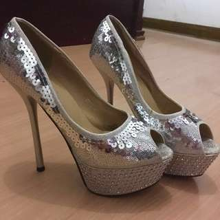 Pageant High heels silver 6inches tall