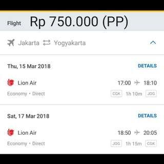 Tiket Pesawat Jakarta - Yogyakarta (PP)