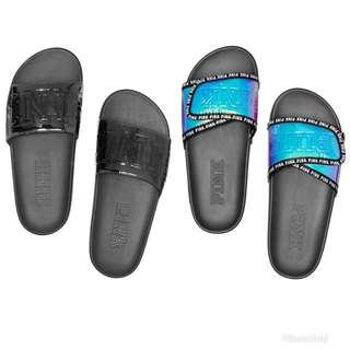 Victoria's Secret PINK 太空感鐳射 金屬感 拖鞋