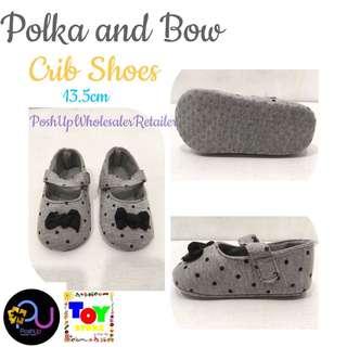 Polka and Bow Crib Shoes