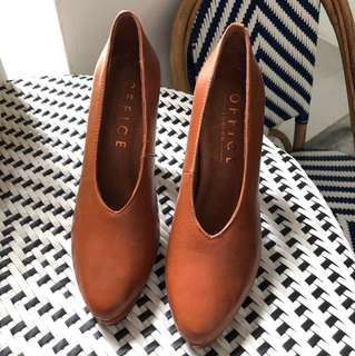 OFFICE London Leather Brown high heel shoes