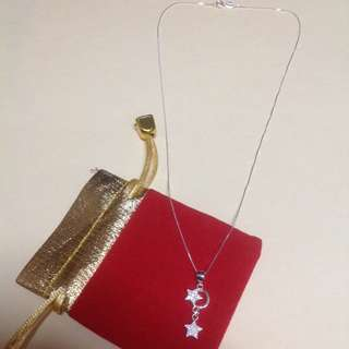 Genuine Pure 925 Italy Silver Stars Necklace