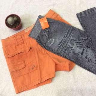 Orange shorts (Up to 27) Leggings (XS-Medium)