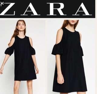 Zara black cold shoulder dress