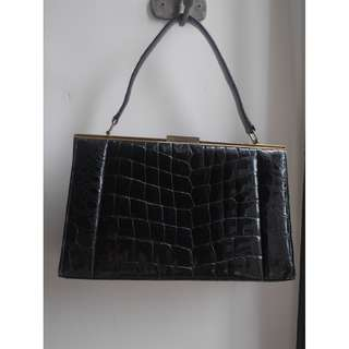 """VINTAGE"" Black Crocodile Leather Bag with GHW"