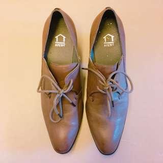 Korean 啡色高跟紳士鞋 Korean brown lace up shoes with heels