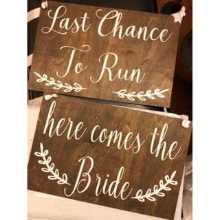 Wedding March-in Wooden Signs for Page boy and Flower girl