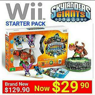 [ Brand New]  Nintendo Wii SKYLANDERS GIANTS Starter Pack with Game.  UP:  $129.90  Special Offer: $29.90.  Whatsapp  85992490  to pick Up From Any mrt Stn. (Brand New In Box & Sealed) Last piece left. Free DVD Movie.