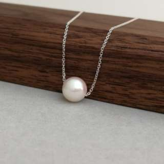 Natural Japanese Akoya Pearl necklace/pendant, 18k white gold chain