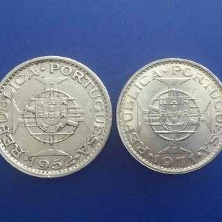 澳門銀幣1952年伍圓銀幣 1971年伍圓銀幣各一個(澳門只出過2個銀質伍圓銀)