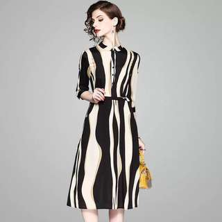 3/4 sleeve striped midi dress plus size